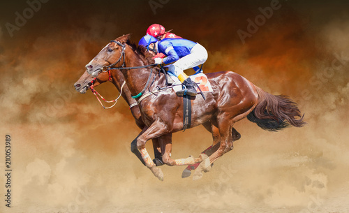 Photo Two racing horses neck to neck in fierce competition for the finish line