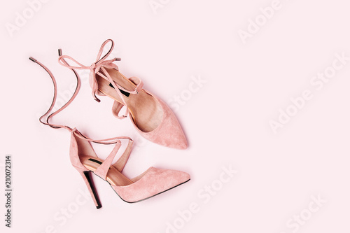 Fashion female shoesand  accessories.  Flat lay, top view.