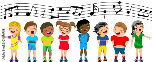 Fotografia Happy multicultural kids or children standing and singing in a chorus isolated