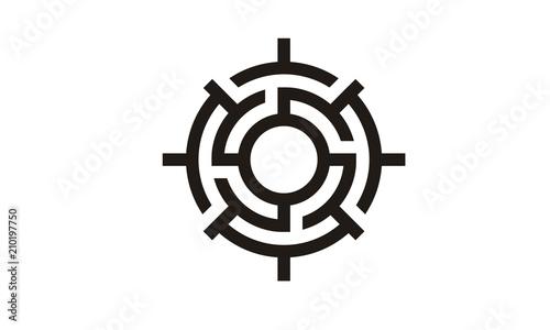 Photo Compass Labyrinth Maze logo design inspiration