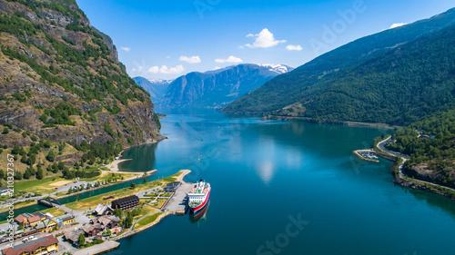 Obraz na plátně Aerial view of Flam village. Norway.