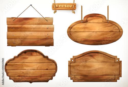 Fotografía Wooden board, old wood vector set