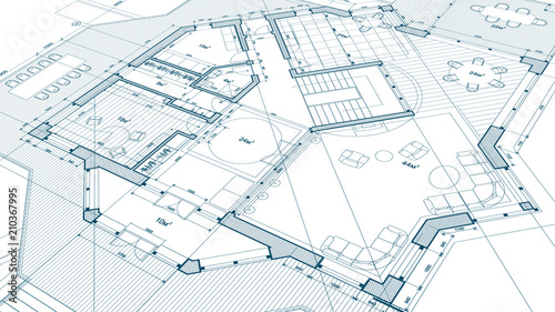 Leinwand Poster architectural blueprint - the architectural plan of a modern residential buildin