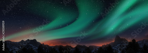 Fotografija A beautiful green aurora dancing over the hills, panorama view.