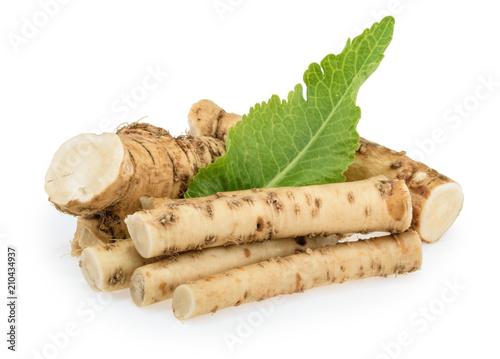 Canvastavla Horseradish roots isolated on white background