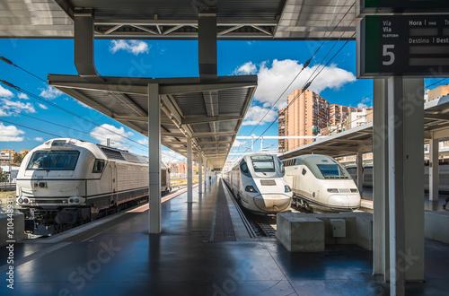 Modern high speed train on railway station in Madrid