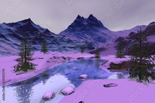 Góry, krajobraz zimowy, śnieg na ziemi, drzewa iglaste i kamienie w rzece.
