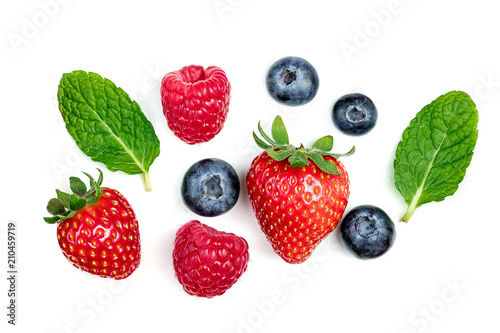Various fresh forest berries isolated on white background, top view. Berry border frame. Flat lay.