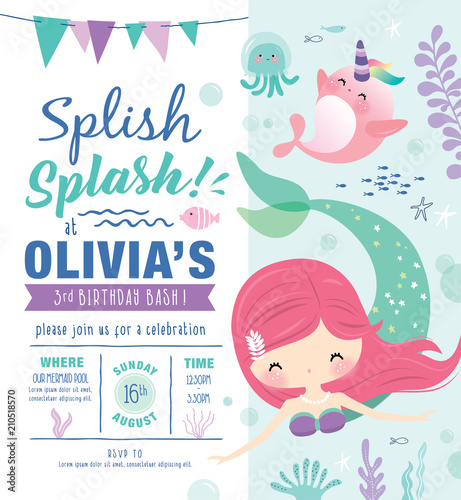Photo Kids birthday party invitation card with cute little mermaid and marine life