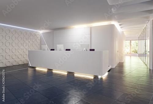 Wallpaper Mural modern reception desk design.