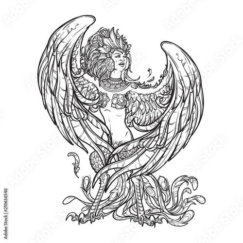 Photo Sirin - half-woman half-bird in Russian myths and fairy tales