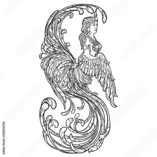 Photo Gamayun - half-woman half-bird prophetic creature in Russian myths and fairy tales