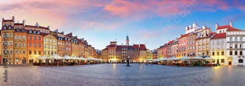 Panorama of Warsaw odl town square, Rynek Starego Miasta, Poland