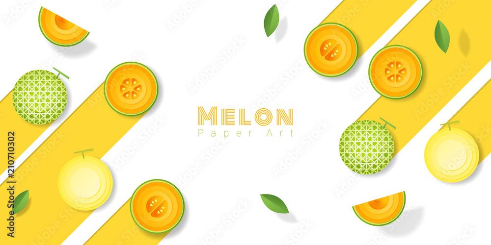 Świeży melonowy owocowy tło w papierowym sztuka stylu, wektor, ilustracja <span>plik: #210710302   autor: littleartvector</span>