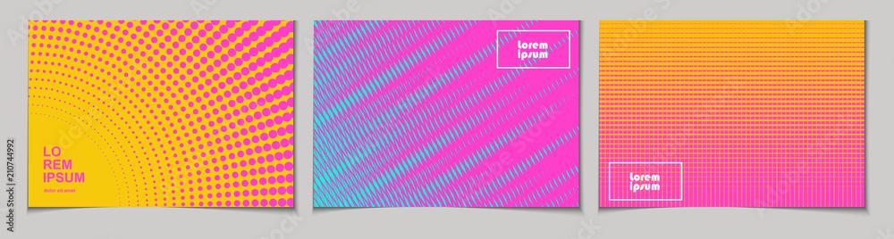 Zestaw poziome abstrakcyjne tła z półtonów wzór w neonowych kolorach. Kolekcja gradientowych tekstur z ornamentem geometrycznym. Szablon projektu ulotki, baner, okładka, plakat. Wektor <span>plik: #210744992 | autor: annagarmatiy</span>