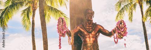 Canvas Print Panoramic banner of Duke Kahanamoku statue on Kuhio Beach Park in Waikiki, Honolulu, Oahu, Hawaii travel vacation tourist destination