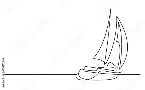 Photo continuous line drawing of sailing boat