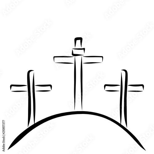 Three crosses on the hill, Golgotha, Christian symbols Fototapeta