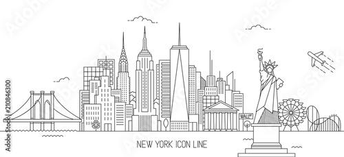 Styl sztuki linii panoramę Nowego Jorku