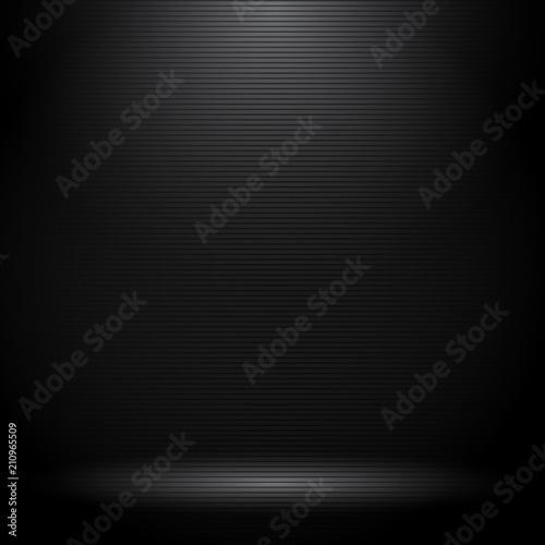 Fényképezés Black studio room with lighting effects and horizontal lines texture