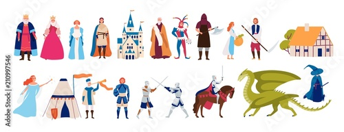 Fotografia Collection of cute funny male and female characters and items and monsters from medieval fairytale or legend isolated on white background