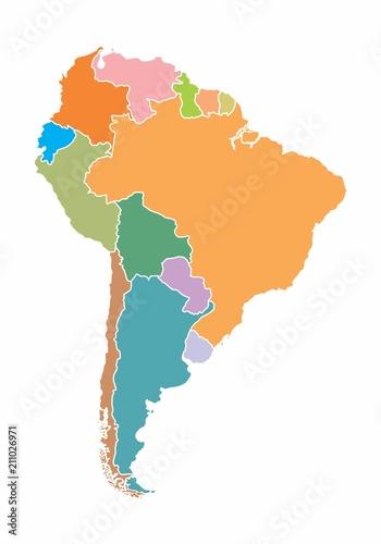 Canvas Print South America map