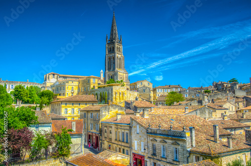 Aerial view of French village Saint Emilion dominated by spire of the monolithic Poster Mural XXL