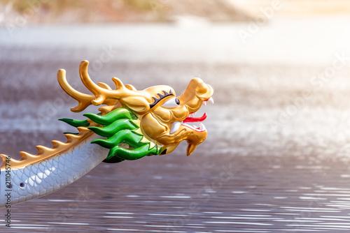 Canvastavla Decorated figurehead of dragon boat