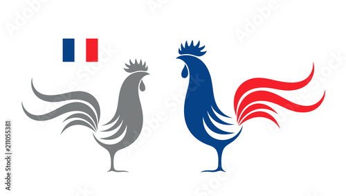 Fotografiet French rooster. Isolated rooster on white background