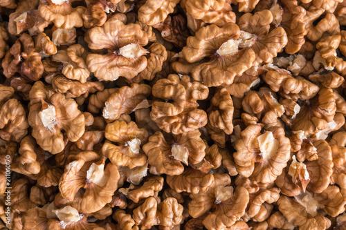 closeup of shelled organic walnut halves