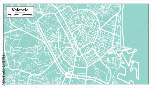 Fotografia Valencia Spain City Map in Retro Style. Outline Map.