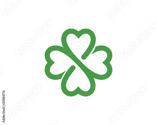 Photo Green Clover Leaf Logo Template