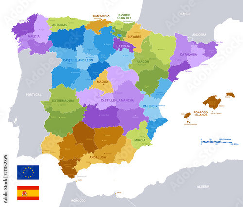 Photo Vector Colorful Administrative Map of Spain