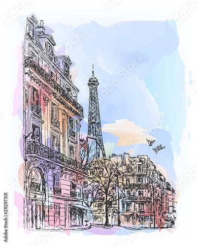 Paris watercolor sketch