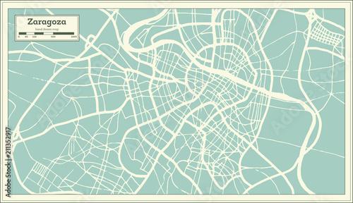 Zaragoza Spain City Map in Retro Style. Outline Map.