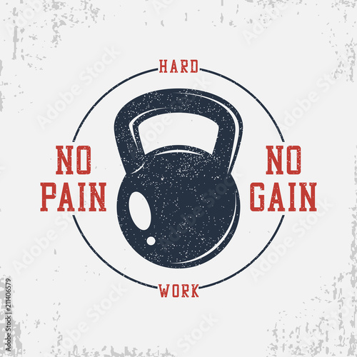 Fototapeta Bodybuilding t-shirt with weight and slogan - No pain no gain