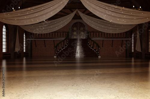 Elegant modern ballroom / Wedding venue, 3d render. Fototapet