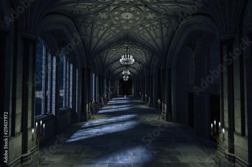 Vászonkép Dark Palace Hallway with lit candles and moonlight shining through the windows, 3d render