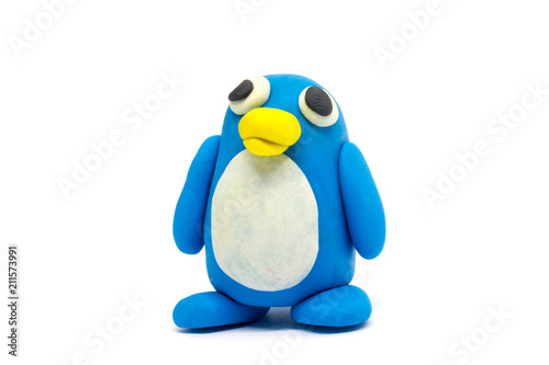 Play dough penguin on white background