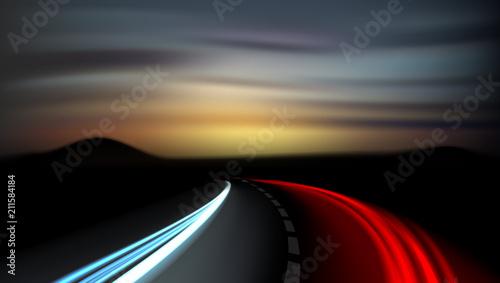 Photo Long Exposure Vehicles Light Trails On Freeway