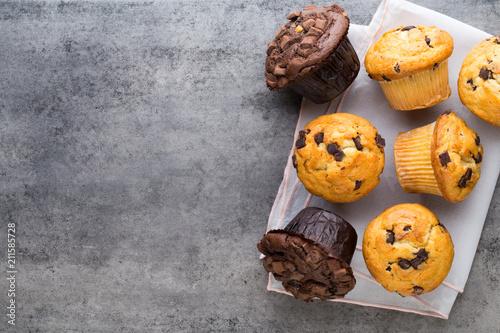 Carta da parati Homemade chocolate muffins on the vintage background.
