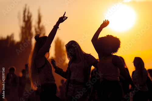 Fotografie, Obraz Sunset party dancers silhouettes at summer music festival