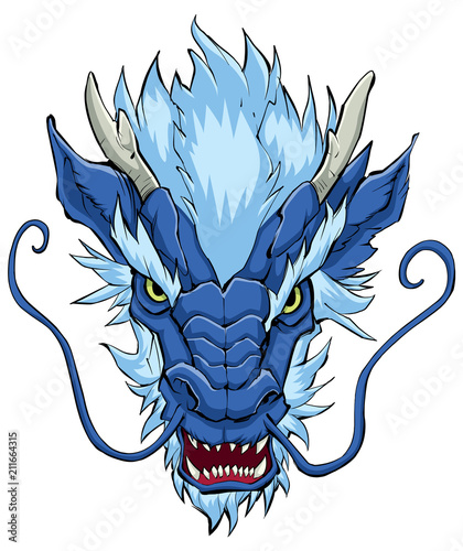 Fotografie, Obraz Chinese Dragon Head Blue / Hand drawn illustration of Chinese dragon in blue