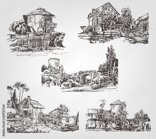 Fotografia Set of illustrations with watermills. Vector graphic hand drawing