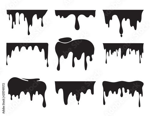 Illustrations of various dripping black paint Fototapeta