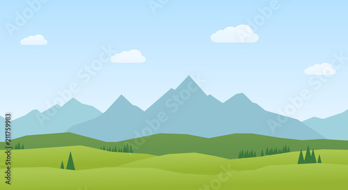 Photo Vector Landscape mountains and hills flat design