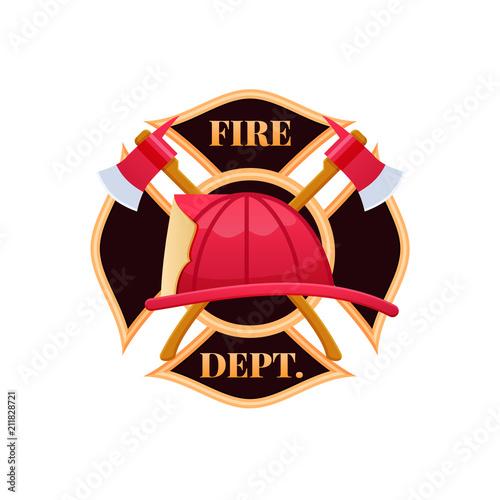 Canvas-taulu Plastic red fire helmet, fighting fire. Fire dept logo icon.