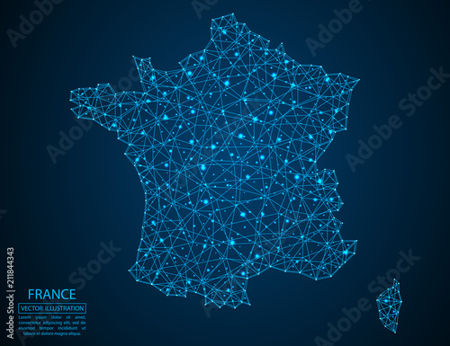Obraz na płótnie A map of France consisting of 3D triangles, lines, points, and connections