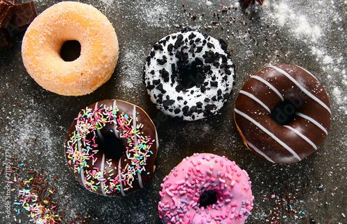 Valokuvatapetti Sweet and tasty doughtnuts
