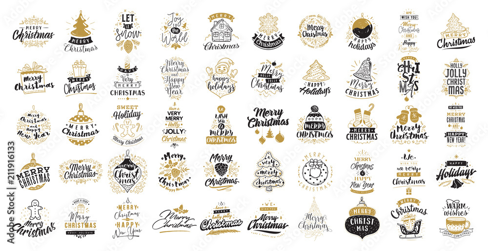 Zestaw Wesołych Świąt typografii. <span>plik: #211916133   autor: pavector</span>